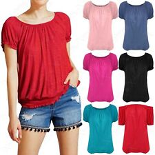 NEW LADIES GYPSY BUBBLE TOP WOMENS 2in1 BARDOT OFF SHOULDER LOOK JERSEY T-SHIRT