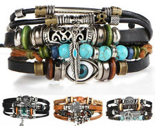 Stone Feather Multi-layer Leather Eye Fish Charms Beads Bracelets For Men