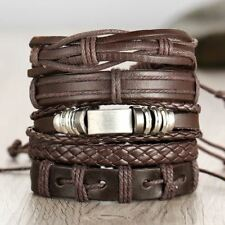 Fashion Multi layer Punk Leather Classic Rope Chain Charms Bracelet For Men
