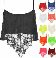 Womens Camisole Top Ladies Floral Lace Crop Sleeveless Vest Tee New UK Size 8-14