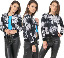 Womens Jacket Ladies Floral Rose Print Bomber Coats Zip up Casual Plus Size 8-22