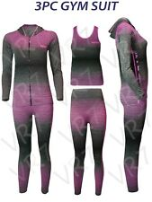 3PC Ladies GymSuit Hooded TOP, Vest, Legging, Sport Yoga Workout Fitness WEAR