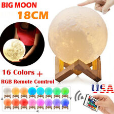 3D Printing LED Moon Night Light Lamp USB Charging Touch Color Changing 8-18CM