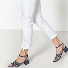 Mademoiselle R Womens Denim Sandals With Floral Embroidery