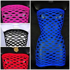Women Sexy Mesh Dress Fishnet Mini Bodycon Sheer Bandeau Off Shoulder Nightwear