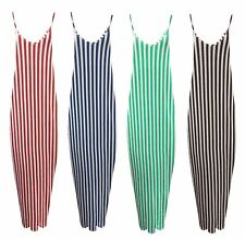 Ladies Striped Print Womens Long Cami Strappy Casual Summer Maxi Dress Size 8-26