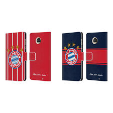 OFFICIAL FC BAYERN MUNICH 2017/18 LOGO KIT LEATHER BOOK CASE FOR MOTOROLA PHONES