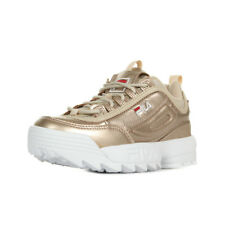 """Chaussures Baskets Fila femme Disruptor MM Low """"Gold"""" taille Doré Cuir Lacets"""