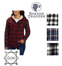 NEW Boston Traders Women's Sherpa Lined Flannel Shirt Buffalo Check -Variety-