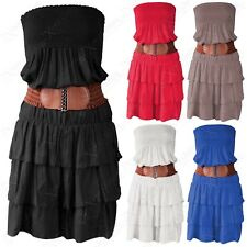 NEW WOMENS LAYERED FRILL SKIRT BELTED DRESS LADIES SLEEVELESS SUMMER GYSPY LOOK