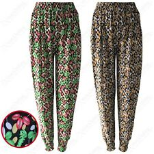 NEW LADIES LEAF PRINT HAREM CASUAL TROUSERS WOMENS LOOSE FIT TRAVEL LOUNGE PANTS