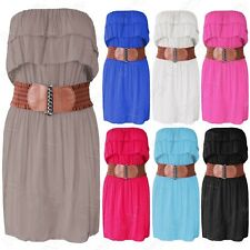 NEW WOMENS LAYERED FRILL TOP BELTED DRESS LADIES SLEEVELESS SUMMER GYSPY LOOK