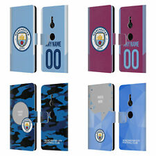 CUSTOM MANCHESTER CITY FC 2017/18 LOGO & KIT LEATHER BOOK CASE FOR SONY PHONES 1