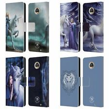 OFFICIAL ANNE STOKES UNICORNS 2 LEATHER BOOK WALLET CASE FOR MOTOROLA PHONES