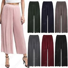 NEW LADIES PLEATED 3/4 CULOTTES WOMENS TROUSERS FLARED CROP TROUSERS PLAIN PANTS