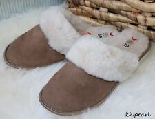 Womens Real Sheepskin & Fur Slippers, Natural Suede Leather & PREMIUM QUALITY