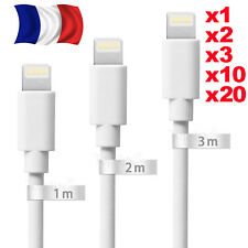 CABLE IPHONE 7 6 5 SE PLUS IPOD IPAD CARGADOR USB REFORZADA BLANCO 1M 2M 3M LOTE