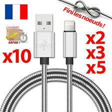 CABLE PARA IPHONE 7 6 5 8 PLUS IPOD DEL IPAD CARGADOR USB METAL REFORZADA 1M