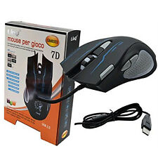 MOUSE MULTICOLOR LED USB COMPUTER PC MULTIPLAYER 4000 DPI 10 TASTI GAMING X11