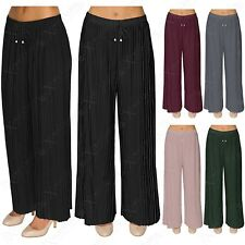 LADIES PLEATED THICK PALAZZO TROUSERS FLARED WOMENS LONG WIDE LEG TROUSER PANTS