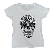 Dia de los Muertos Skull T Shirt, cool women's fitted white tee