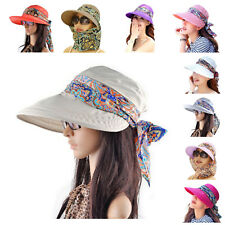 Sun Visor Cap UV Protection With Neck Cover Packable New Hat Wide Brim For Women