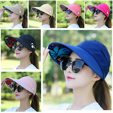 Sun Visor Hat Pony Tail Wide Brim Outdoor Summer UV Protection Beach Stylish Cap