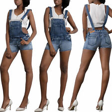 Womens Sexy Ladies Denim Shorts Ripped Dungaree Jeans Playsuit Size 6 -14