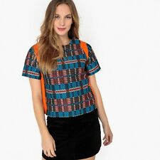 La Redoute Collections Womens Shortsleeved Multicoloured Jacquard Blouse