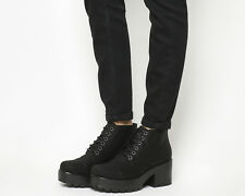 Womens Vagabond Dioon Lace Up Boots BLACK CANVAS Boots