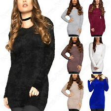 NEW LADIES FLUFFY KNIT JUMPER ROUND NECK WOMENS EYELASH HAIR FUR MOHAIR LONG TOP