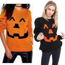 Womens Unisex Halloween Knitted Jumper Ladies Pumpkin Fancy Dress Plus Size 8-26