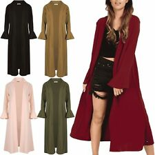 Ladies Cardigans Womens Crepe Bell Long Sleeve Open Front Maxi Duster New UK S-L