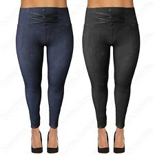 PLUS SIZE LADIES HIGH WAIST PU BUTTONS LEGGINGS WOMENS JEGGINGS DENIM JEAN LOOK