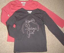 Girls 100% cotton long sleeve top in pink and grey ages 3-5 years with slogan