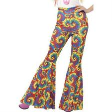 Ladies 1960s/ 1970s Tie Dye Multi-Coloured Flared Trousers Fancy Dress Costume