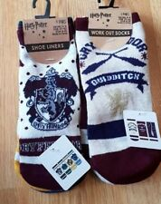 Harry Potter Hogwarts House Crest Or Quidditch Work Out 3 Pair Socks BNWT