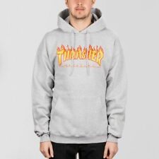 Thrasher Flame Logo Pullover Hood Heather Grey