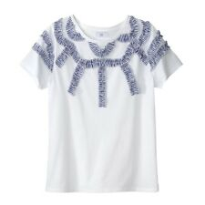 Mademoiselle R Womens Tshirt With Striped Ruffled Detail