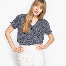 La Redoute Collections Womens Printed Cotton Vneck Blouse