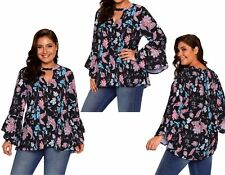 Womens Floral Choker V Neck Bell Sleeve Shirt Blouse Tunic Top Plus Size 16-20