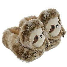 Ladies Girls Boys Unisex Novelty 3D Sloth Slippers Soft Comfy Faux Fur