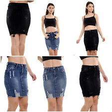 Womens Distressed Ripped Midi Pencil Bodycon Denim Jeans Skirts New UK Size 8-14