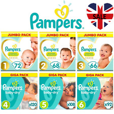 Pampers Baby Dry Nappies Supply Soft Absorbing Diapers Disposable 12 Hrs Dryness