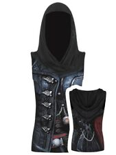 Spiral Assassins Creed Syndicate Evie Gothic Hood Women's Sleeveless Black Top