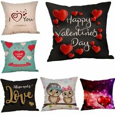 Valentines Day Cotton Decorative Cushion Cover Sweet Love Throw Pillow Case