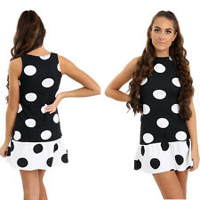 Ladies Polka Dots Skater Dress Womens Sleeveless Casual Mini Party Tops UK 8-14