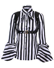 Shirt striped black with sleeves flying flared and harness vinyl,got