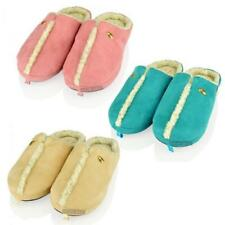 WOMENS LADIES MUEL SLIP ON FUR LINED WARM WINTER FAUX SUEDE SCENTED SLIPPERS 3-8