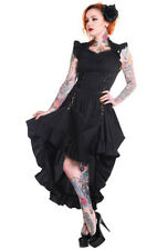 Long black dress sober with skirt pushed up elegant gothic aristo Banned
